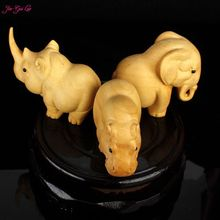 Jia-Gui Luo Boxwood carving rhinoceros elephant hippopotamus sculpture home decoration craft office furniture(China)