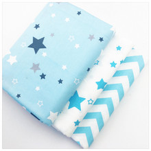 Syunss Twill Cotton Fabric Diy Patchwork Tecido Fat Quarter Tissue Sewing Baby Crafts Textile Blue Stars Wave Design Art Work(China)