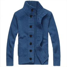 2017 NEW knit cardigan sweater thick sweater coat line casual jacket BLUE SIZE XXL(China)