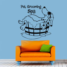 Dog Tub shower Pet Grooming Wall Decal Dog Grooming Salon Decals Bedroom Home Decor Removable Vinyl Art Wall Stickers Decor B117(China)