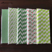 125pcs(5bags) Outdoor Lawn Wedding Supply Paper Straws Green Chevron Stripe Polka Dot Drinking Straws Birthday Party Decorations(China)