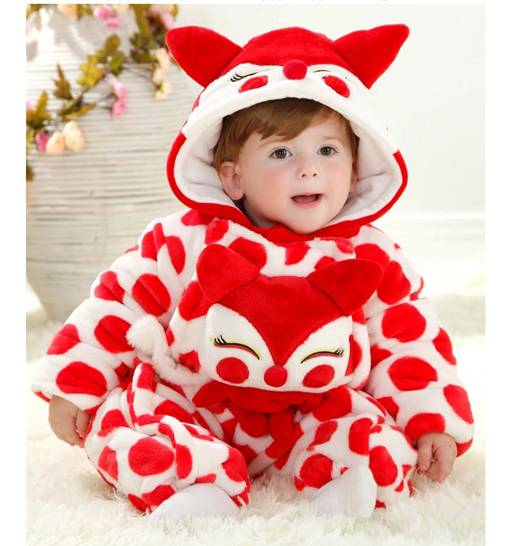 Cute fox character cartoon pattern baby hooded rompers clothes<br><br>Aliexpress