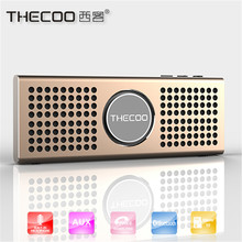 THECOO Ultra Thin Metal Portable Mini Bluetooth Speaker Wireless MP3 music Player computer phone Subwoofer Loudspeakers