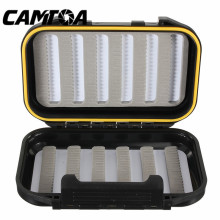 CAMTOA 13x9x3.8cm Waterproof Fishing Tackle Boxes Double Sides Foam Fly Fishing Lure Bait Hook Tackle Storage Case Cover Box(China)