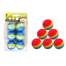 Golf Balls Hot Sale 6Pcs/Lot Indoor Practice EVA Sponge Foam Balls Swing Training Aids Golfing Accessories Blue/Red(China)