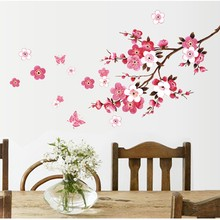 hot beautiful sakura wall stickers home decor for kids rooms living room bedroom decorations diy flowers wall sticker PVC(China)
