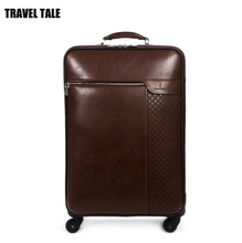 "Travel tale 16""20""24 inch brown real leather suitcase spinner vintage trolley travel bag for men"