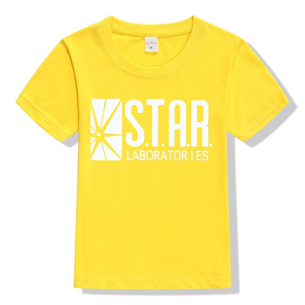 3-10Y Kids Black Star Lab Letter Print Short Sleeve T Shirt Boys Novelty T-shirt Girls Tshirt Clothes Anime Comics The Flash 6