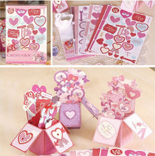 Sweet Valentine Love Pop Up Box Card,DIY Handmade Card In A Box Tutorial For Wedding,3D Greeting Card Making Kit