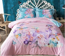 4pcs bedding sets 100%cotton bed linings queen king size flower floral bed linen duvet cover flat sheet pillowcase Home Textiles