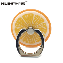 universal orange fruit series acrylic metal finger ring stent 360 degree rotation mobile phone holder phone stand