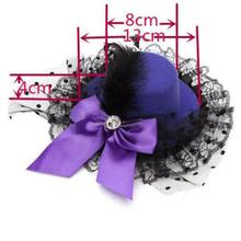 4 Color Lady Mini Feather Bowknot Hat Lace Fascinator Pillbox Party Hair Clip Girls Daily Wear Vintage Hair Accessories(China)