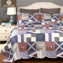 Naturelife Blue Nautical Plaid Bedclothes 3 pcs Luxurious Quilted Bed Set Bed Linen Microfiber Patchwork Bedspread Bedding Sheet(China)