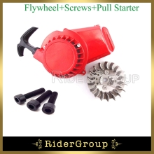 Red Aluminum 47cc 49cc Pull Start Recoil Starter Flywheel For 2 Stroke Engine Parts Pocket Bike Mini ATV Quad Dirt Bike