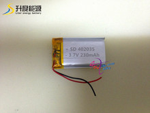 SD402035 cheap lipo batteries 3.7v 230mAh rechargeable battery for protable foot massager 402035