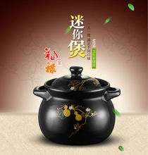Dani Zhang Black Mini Casserole Stewpan Ceramic high-temperature mini crock 1000ml 12.5x14cm(China (Mainland))