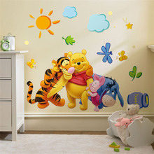 Cartoon pvc wall decal Winnie the Pooh friends wall stickers for kids rooms decorative sticker removable(China)