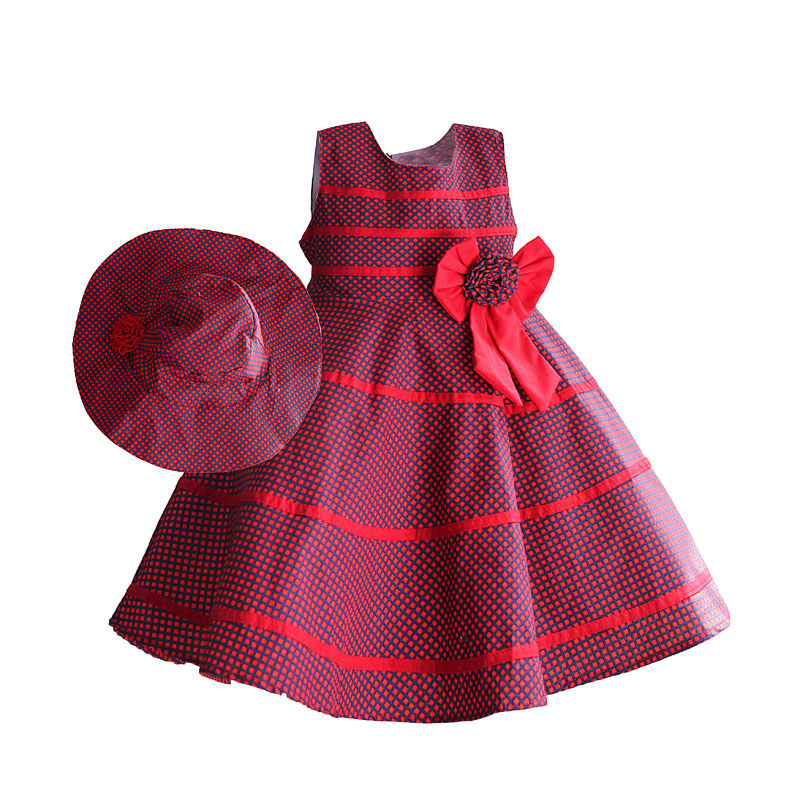 Purple Plaid Girls Dress with Hats Cotton Casual Kids clothes Red Bow Striped Summer Dresses for Party robe fille enfant 3-8T<br><br>Aliexpress