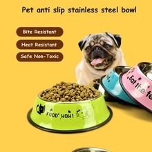 4 Color Strong Dog Cat Puppy Bowl Disc Pet Feeding Eat The Food Or Drink Water Stainless Steel Dogs Bowls Basin Supplies 5 Size