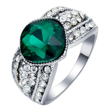 2016 New Collection silver plated Brilliant green crystal Ring Clear white rhinestone paved Ring Fine Jewelry Anillos party gift
