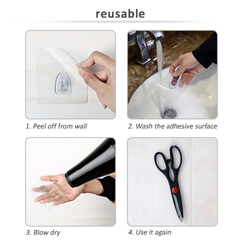 Anti-skid Hooks Wall Door Scrub Strong Sticky Hook Holder Transparent(1//6//10PCS)