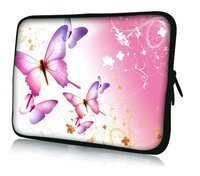"11.6"" 12"" Pink Flying Butterfly Soft Neoprene Laptop Sleeve Case Netbook Bag For Dell Acer Thinkpad Sony,Waterproof,Shockproof"