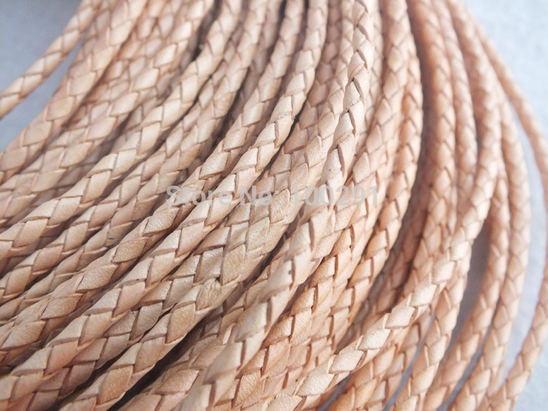 free shipping!! A-1311 High quality natural 3mm braided geunine leather cord round 100/roll
