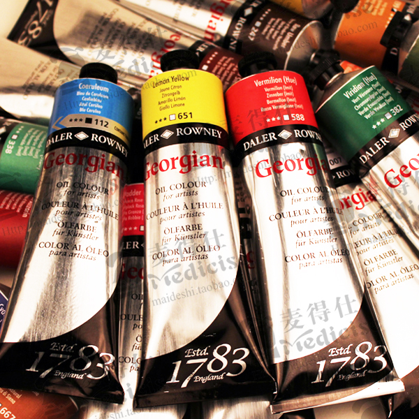Freeshipping British Georigian 225ML 54 color high quality master Oil paints Professional Oil colour for artist single pigment<br>