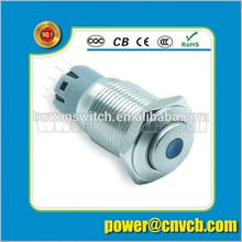16105F IP67 16mm 12v Momentary dot illuminated metal button switch with high flat professional switch factory