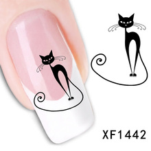 Hot Sale 1Sheet 3D Design Cat Art Water Transfer Nail Sticker Nail Decals Water Stickers For Nails Tools Stickers Manicure(China)
