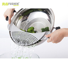 Famous Brand Fushen High Grade Stainless Steel Pot Vegetable Filter Useful Cooking Tools Drainboard for Vegetable Wash 1 Piece(China)