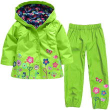 Boys Clothes Set Cartoon Dinosaur Hooded Raincoat Jacket+Pants Kids Sport Suit Spring Girls Clothes Children Waterproof Clothing
