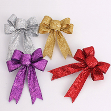 10pcs/lot 2016 Christmas Tree Decoration For Home X-mas Supplies Tree Ornaments Flowers Bow Knots Gold Silver Purple Red