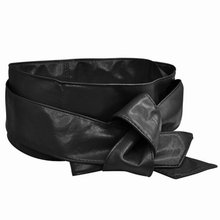 NEW Around Self Tie Faux Leather Obi Cinch Waist Belt Band Black 2.1M for Lady