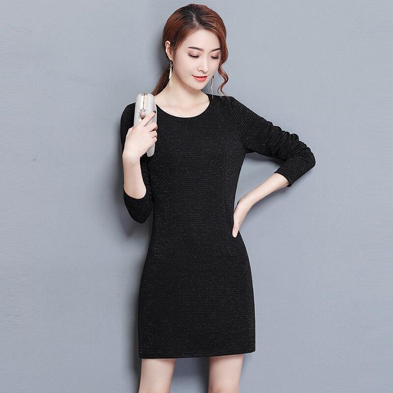 Winter Thick Knit Dresses Plus Size 3XL Long Sleeve O-neck Warm Dress Spring Slim Fashion Black Knitted Dresses RE0307Îäåæäà è àêñåññóàðû<br><br>