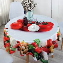 Cloth Tablecloth Round Fruit Pattern Table Liner for Picnic Party Polyester Square Table Cover Machine Washable
