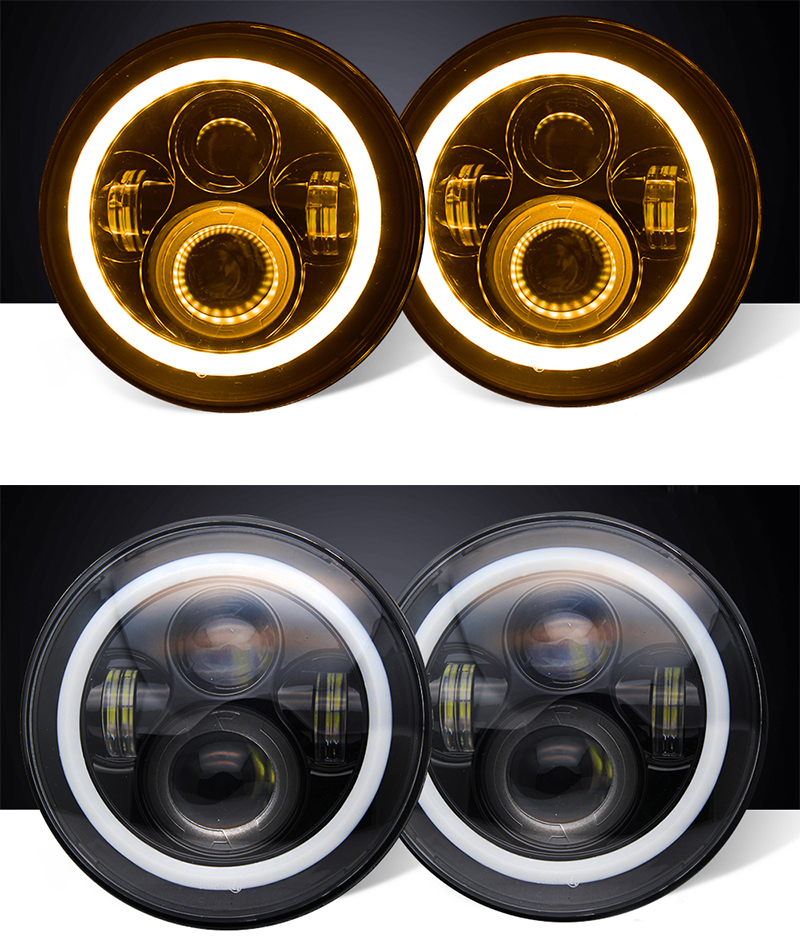 "CO LIGHT 7 Inch Led Headlight H4 H13 Round Shape 7"" Headlights With Yellow & Amber Angel Eyes for Offroad Jeep Wrangler Bike"