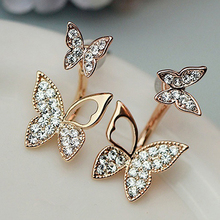 New Arrival Sweet Lovely Women Girl Rhinestone Butterfly Ear Jacket Stud Earrings Jewelry(China)