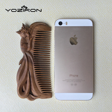YOZIRON Boutique Hand-carved Sandalwood craft comb for hair professional Fox massage combs hair brush styling tools gift Y085(China)