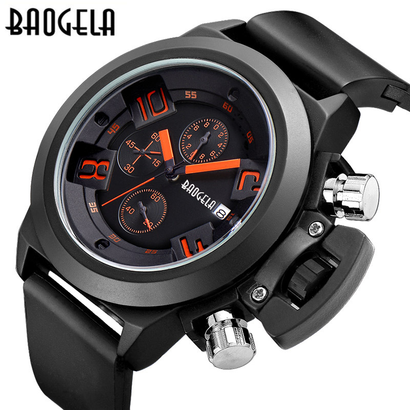 BAOGELA luxury brand man watches black outdoors sports Large dial Genuine mens leather quartz wristwatch waterproof male clocks<br>