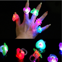 25pcs/lot Cartoon soft led finger ring toy flash luminous ring toy party props light up toy and kids birthday colorful gift(China)