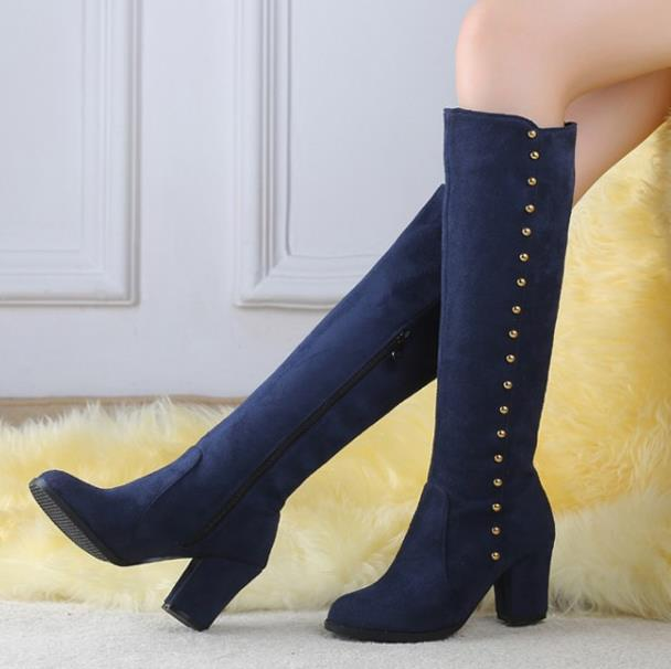Plus Size 42 43 snow boots winter ladiesshoes Round toe Suede thick with Women boots High-heeled boots boty bottes femmes<br><br>Aliexpress