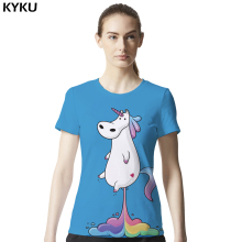 Unicorn Shirt Rainbow Blue Horse Funny T-shirt Women Short Sleeve 3d Print Tshirt Summer Tee Top Cool Brand Clothing Hip Hop Tee(China)