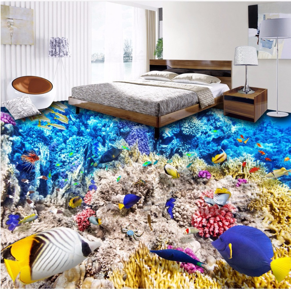 Free Shipping Underwater World 3D floor painting wear non-slip waterproof bathroom living room bedroom flooring wallpaper mural<br>