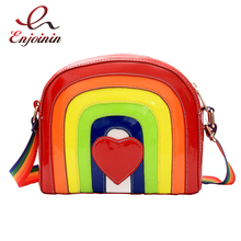 Cute fashionable rainbow modeling stitching color red hearts female casual shoulder bag handbag women's crossbody messenger bag