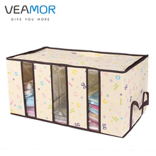 VEAMOR Bamboo Charcoal Storage Box Nonwoven Storage for Home Organization Plus Size Tank Window Transparent Folding Box WB1244(China)