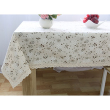 Pastoral Lace Edge Table Cloth Gray Floral Home Table Cover Cafe Dustproof Tablecloth Party Wedding Tablecloths Outdoor manteles