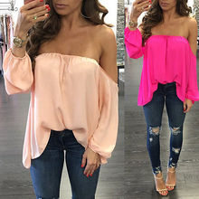 Buy Fashion Women Ladies Summer Long Sleeve Shoulder Chiffon Loose Blouse tops Pink Rose Red Casual Shirt Tops Women Clothes for $4.56 in AliExpress store