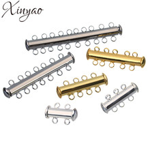 XINYAO 10pcs Copper Strong Magnetic Slide Clasps Fit Necklaces Bracelets Gold Color End Clasps Connector For Diy Jewelry Making(China)