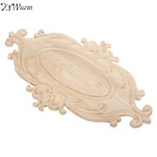 KiWarm Overvalue Wood Carved Applique Onlay Woodcarving Decal Home Cabinet Wall Door Furniture Decor Ornaments 242*148*6mm(China)